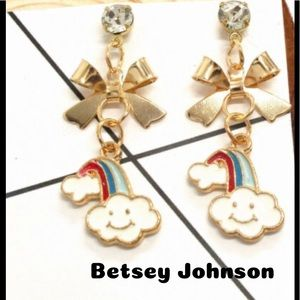 Super Cute Betsy Johnson Cloud Bow Earrings